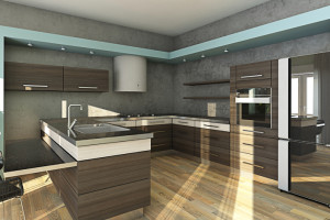 Modern Kitchen In Grey and Blue Colours