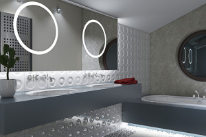 bathroom with circles